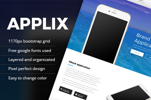 Applix One Page Landing PSD