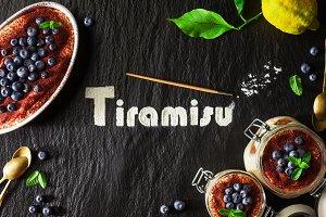 Word written with flour Tiramisu