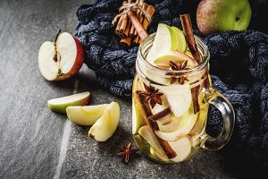 Infused apple water with spices