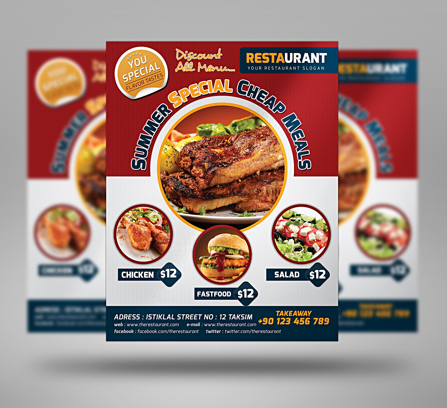 University Fast Food Flyer 3 Color Flyer Templates Creative Market