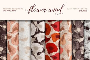 Flower wind. Set of floral patterns