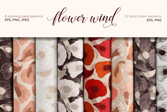 Flower Wind Set Of Floral Patterns