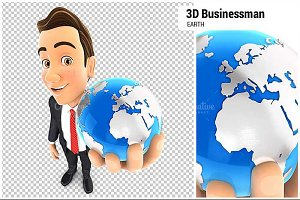 3D Businessman Holds Blue Earth