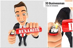 3D Businessman Stick of Dynamite