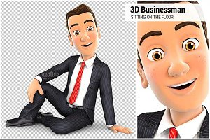 3D Businessman Sitting on the Floor
