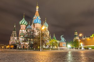 Saint Basil's Cathedral at night