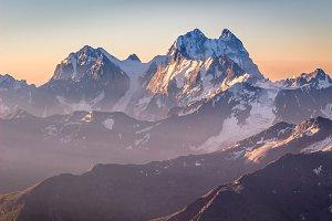Ushba mountain at sunrise.