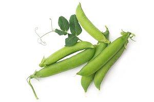 Peas on white background