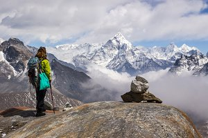 Hiker and Ama Dablam. Himalaya
