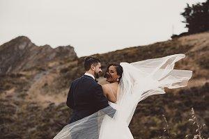 Wedding veil blown in the wind