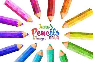 Watercolor Colored Pencils Clipart