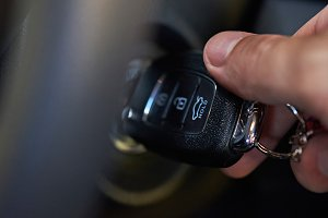Ignition key in hand