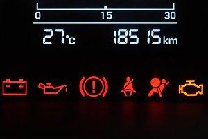 Car dashboard icons close-up