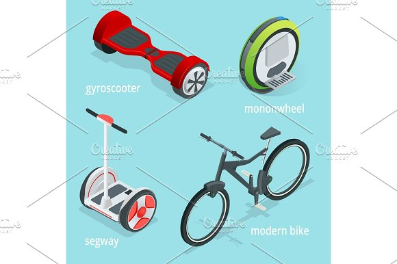 Isometric Vector Set Of Alternative Eco Transport Isolated On A Blue Background Segway Monowheel Or Solowheel Hoverboard Or Gyroscooter Self-balancing Electric Scooter