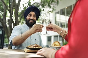 Indian couple dining together