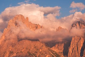 Dolomites landscape at sunset