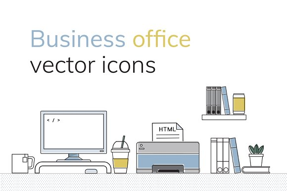 Business Office Vector Icons Set