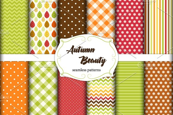 Set Of 12 Cute Seamless Autumn Beauty Patterns With Leaves Polka Dots Stripes Chevron And Plaid