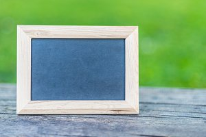 Empty chalk board frame