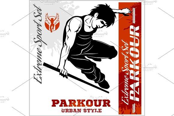 Boy Parkour Is Jumping Illustration And Emblem Set Of Vector Images