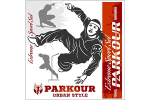 Girl parkour is jumping - illustration and emblem - set of vector images
