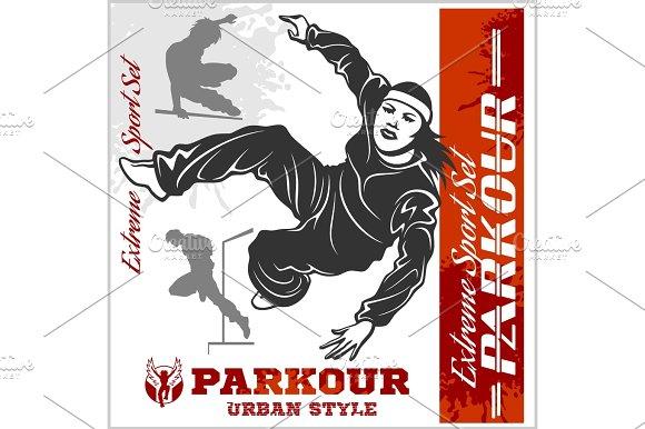 Girl Parkour Is Jumping Illustration And Emblem Set Of Vector Images