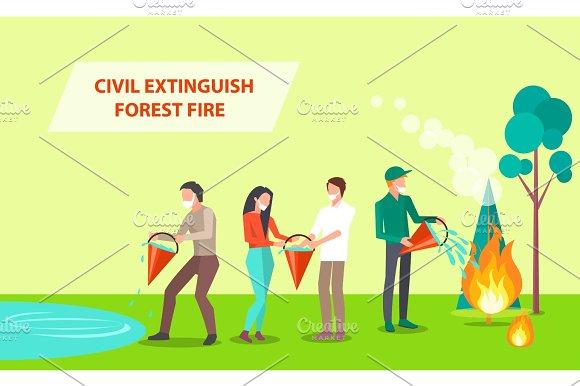 Civil Extinguish Forest Fire Illustration