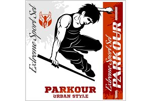 Boy parkour is jumping - illustration and emblem - set of vector images