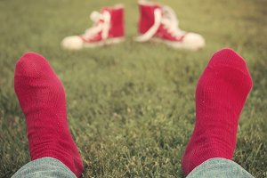 Feet with red socks