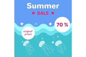 Summer Sale Poster Abstract Cartoon Jellyfishes