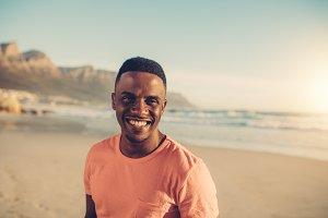 Afro american man smiling