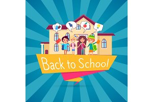 Back to School Template Poster with Small Students
