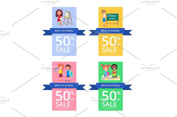 Back To School Set Of Colourful Posters