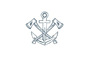 Anchor with crossed axes