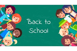 Back to School Kids Isolated Vector illustration