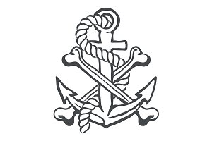 Anchor with rope and crossed bones