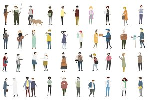 Vector of diverse group of people