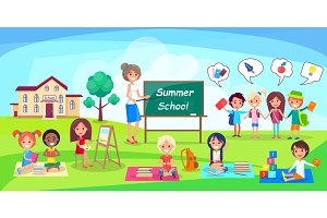 Summer School Poster Depicing Kids and Teacher
