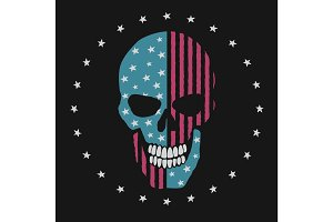 skull like the american flag