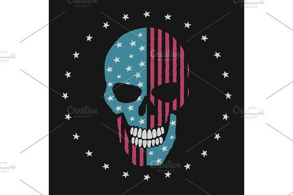 Skull Like The American Flag