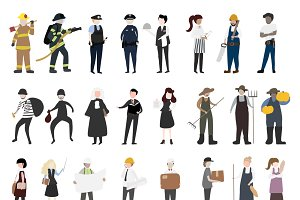 Vector of people with different jobs