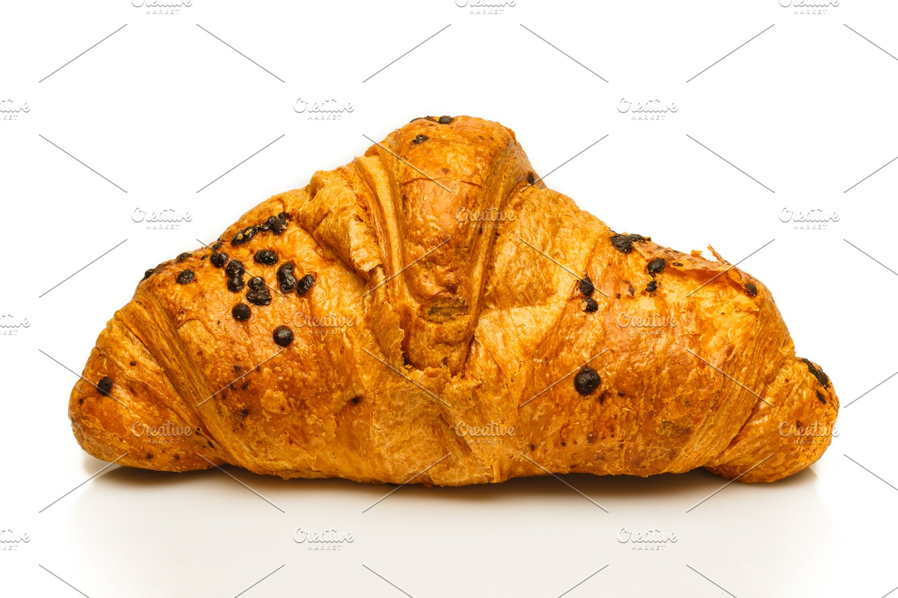 French Chocolate Croissant Isolated