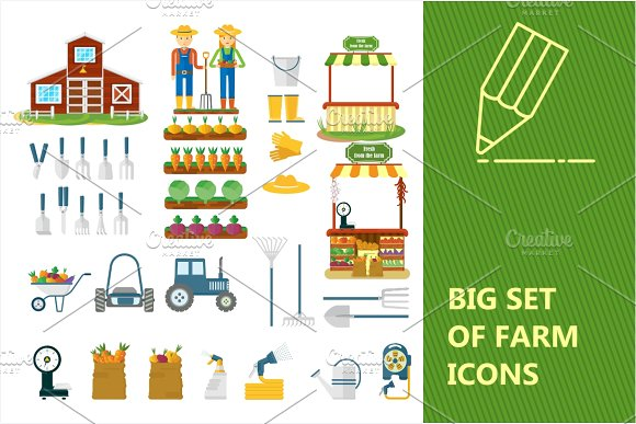 Big Set Of Farm Icons
