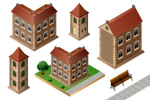 Set of vintage city buildings