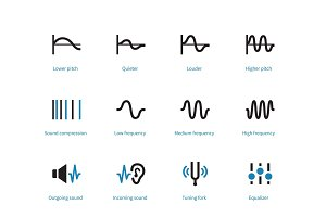 Music and audio types duotone icons on white background.