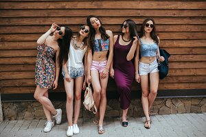 five young beautiful girls