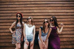 four young beautiful girls