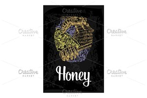 Honey, bee, hive, clover, honeycomb