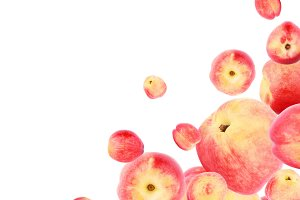 Set from different ripe red peaches isolated