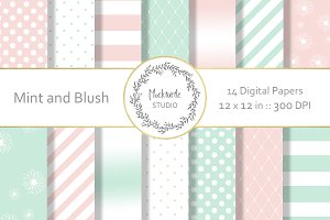Mint and Blush digital paper